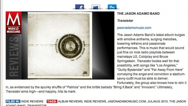 The Jason Adamo Band Garners Great Reviews